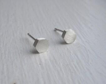Solid 14K 4mm Hexagon Sterling Silver Stud Earrings with Sterling Silver Ear Wire and Sterling Silver Ear nut Brass Hexagon Geometric 0104