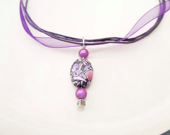 Purple Ribbon Necklace Choker With Glass Bead Pendant