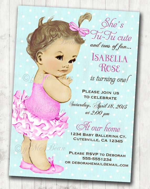 Vintage ballerina birthday invitation for girl ballet party like this item stopboris Image collections