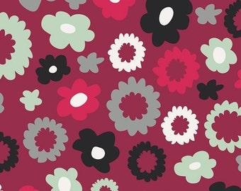 Poppy Fields Merlot NOR-8604 > Art Gallery Fabrics < Fabric by the Yard > Black Grey Mint Pink Flowers