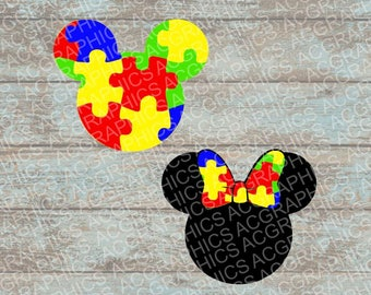 Autism Awareness Mickey and Minnie Mouse Heads SVG, DXF, JPEG, and Studio Downloads