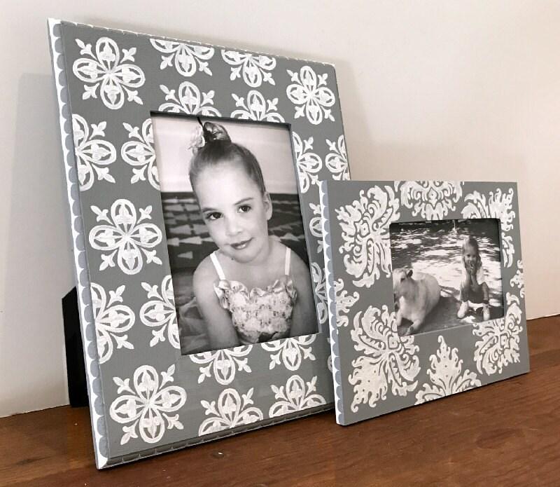 Agrupación de marco de cuadro pintado mano, gris y blanco ...