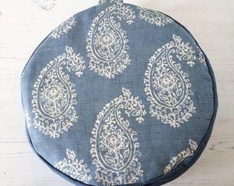 Get comfy... Chambray Paisley Organic Buckwheat Meditation Cushions