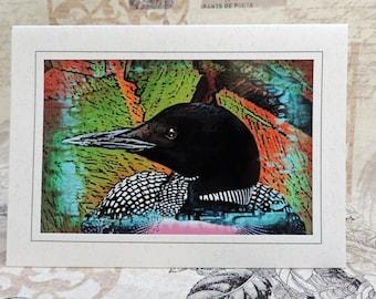 Loon Photo Art Greeting Card, Loon Note Card, Loon Art Card