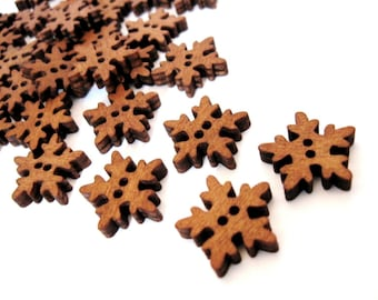 6 Snowflake Wooden Buttons - craft buttons 18mm