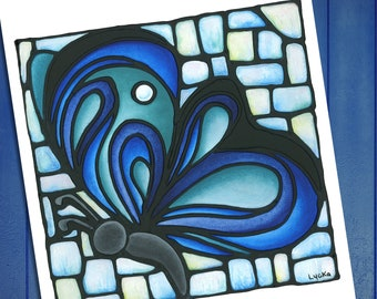 Blue Butterfly Print - FREE SHIPPING - Stained-Glass Art - Wall Hanging - Art Nouveau Artwork - Green Butterfly Artwork - Powder Room Art