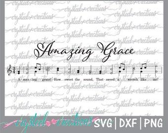 Amazing Grace SVG, PNG, DXF Silhouette Cut, Christian svg, Instant Download, Cut Files, Cricut, sheet music svg, farmhouse music, hymn