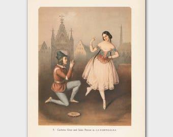 "Ballet Print, Vintage Engagement Gift for Dancers (Ballerina Art, 1940s Dance Decor) --- ""Marriage Proposal"""