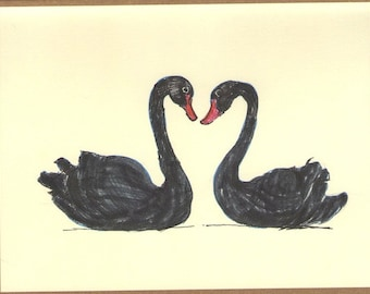 Black Swans Valentine's Day Card - Color Ink Drawing - Swan Pair - One of a Kind - 4.25x5.5 Blank Card