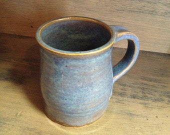 Rutile Blue Wheel Thrown Pottery Mug set of 4