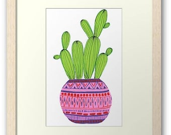 Pink Potted Cactus Art Print