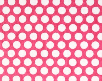 Shannon Fabrics Cuddle Pink/Snow Mod Dot Minky Fabric by the yard