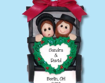 Amish Couple Vacation Polymer Clay HANDMADE Personalized Christmas Ornament - Limited Edition