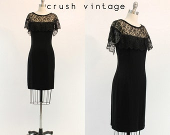 50s Dress Lace XS / 1950s Vintage Dress Flutter Sleeves /  Take Me to Dinner Dress