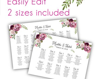 Floral Wedding Seating Chart Template, Floral Wedding Seating Chart Sign, Printable Seating Chart, Wedding Seating Plan DIY Seating Chart