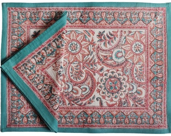 Printed Placemat and Napkin set: Anatolia Pink 8 pieces, 100% cotton