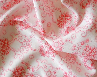 vintage floral fabric patchwork fabric quilting fabric antique pink flowers french fabric vintage french pink floral fabric  34