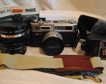 Yashica Electro 35 Camera and lens lot