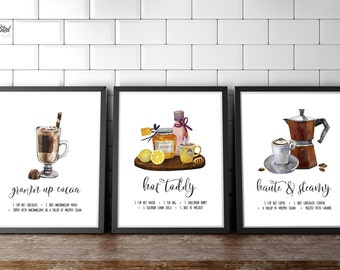 Kitchen Recipe Wall Art Coffee Tea Cocoa| Sign or Card | Instant Download | 5x7 8x10 11x14 | Print it yourself! | Coffee Bar Coffee Print