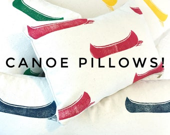 Canoe pillows made to order!  Choose your size and colour.  Hand printed design, unique gift, cabin lakehouse cottage decor, eco-friendly