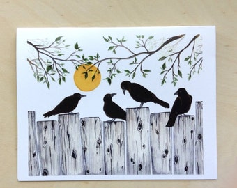 Crows on the fence greeting card 4.25x5.5