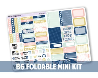 1076-MK // Vertical B6 Foldable Mini Kit for White Space Planning & SMC Inserts  // Celebrate Collection // Planner Stickers