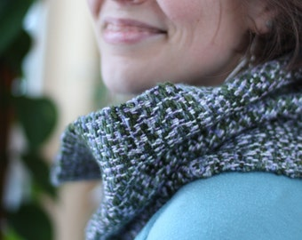 Starlit Lichen: Handwoven scarf / handwoven cowl / wool scarf / purple scarf / green scarf / handwoven wool / cowl / circle scarf /