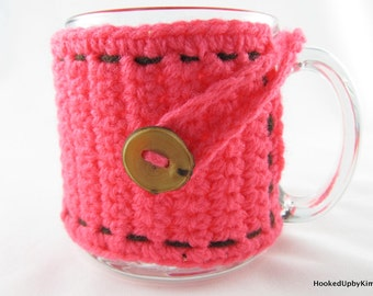 Crochet Coffee Cup Cozy - Bright Neon Coral with Brown Stitching and Genuine Wood Button