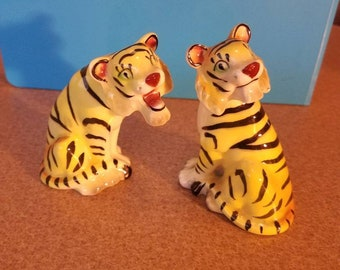 Yellow tiger salt and pepper shaker set