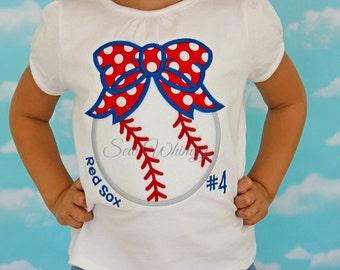 Baseball bow shirt- Softball bow shirt- Little sister baseball shirt- Sister Baseball Fan shirt- Sibling Shirt- Team Sports Shirt- Monogram