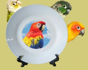 "Scarlet Macaw Parrot Blue Sky Clouds White Decorative Ceramic 8"" Plate and Display Stand"