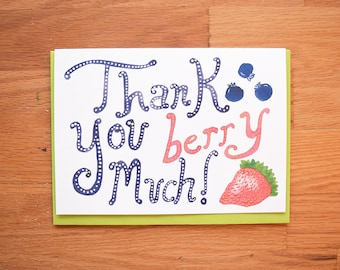 Berry Funny Thank You Card, best friend card, thank you cards, thank yous, thank you notes, thanks card, card for best friend, friend card