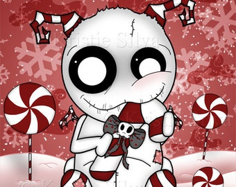 Sweet Tooth: Peppermint 8x10 art print by Kristie Silva peppermint candy voodoo doll eating monster