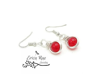 Red jade earrings, red earrings, gemstone earrings, dangle earrings, silver earrings, wire wrap earrings, wire wrapped earrings