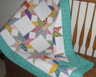 Star Quilted Throw, Scrappy Floral Lap Quilt, 1930s Vintage Look Quilt, Shabby Cottage Chic Quilt, 62 in. x 40 in., Quiltsy Handmade