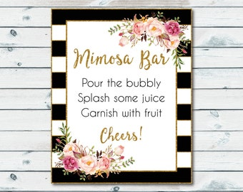 Mimosa Bar Sign Black And White Stripes, Bridal Shower Mimosa Printable Bar Sign, Black And White Gold Bridal Shower, Floral, Chic