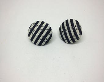 Fabric button earrings - Black and white striped earrings - Nickel free earrings - Gifts under 10 - Gifts for her - Nickel free studs