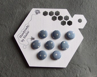 Fabric Covered Buttons - 8 x 12mm Buttons, Handmade Button, Pale Chalky Sky Blue Buttons, White Star Buttons, Slate Blue Astra Buttons, 2268
