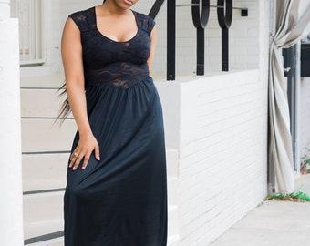 Vintage Black Nightgown Semi Sheer Lace Nightie