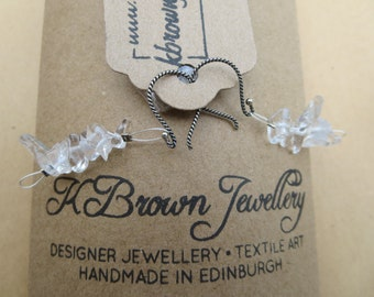 Handmade Quartz Earrings, Quartz Dangly Earrings, Designer Quartz Earrings, in Edinburgh, U.K.