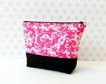 MOVING SALE everything must go! Pink Damask Large Makeup Pouch