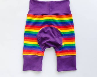 Rainbow and Purple/Blue/Green/Yellow/Orange/Red Baby Big Butt Shorts - Grow with me shorts - Cloth diaper friendly - Toddler - Gift