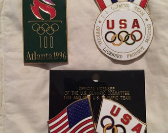 SALE 1996 Atlanta Olympics Pin Collection Three LARGE 1996 Atlanta Olympics Enamel Brass Pins Buttons