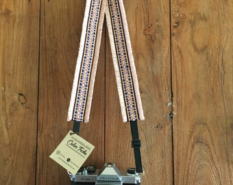 Adjustable CAMERA STRAP Pink Fabric Woven Camera Strap Camera Strap Ethnic dslr camera strap, nikon camera strap, canon camera strap, Boho
