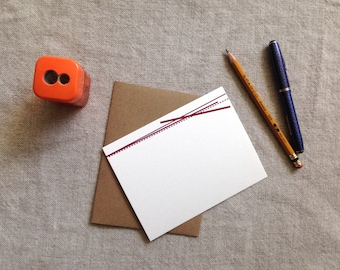 Bright Lines Note Card - Maroon