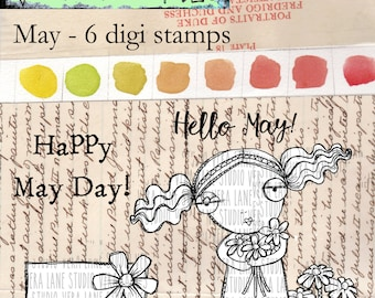 May - whimsical May birthday girl with accent images and sentiments -6 digi stamp bundle