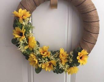 Spring Wreath, Flower Wreath, front Door Wreath, Handmade Wreath, Yellow Wreath, Home Decor