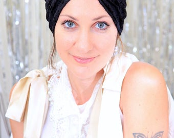 Lace Turban - Black, White, or Ivory - Bohemian Fashion Hair Wrap