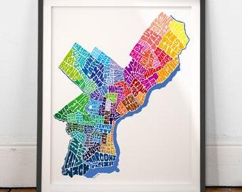 Philadelphia Neighborhood Map Art Print, Philadelphia wall decor, Philadelphia typography map art