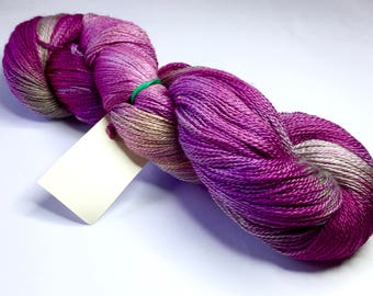 Hand-dyed Laceweight Yarn, 100g, BFL/Silk, colour Blueberry Crush